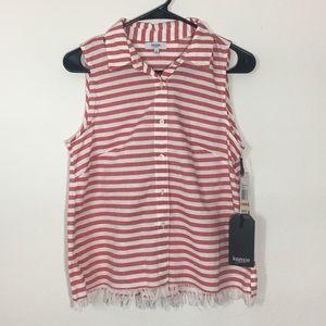 Kenzie Red Stripe Sleeves Blouse Tank Fray Hem
